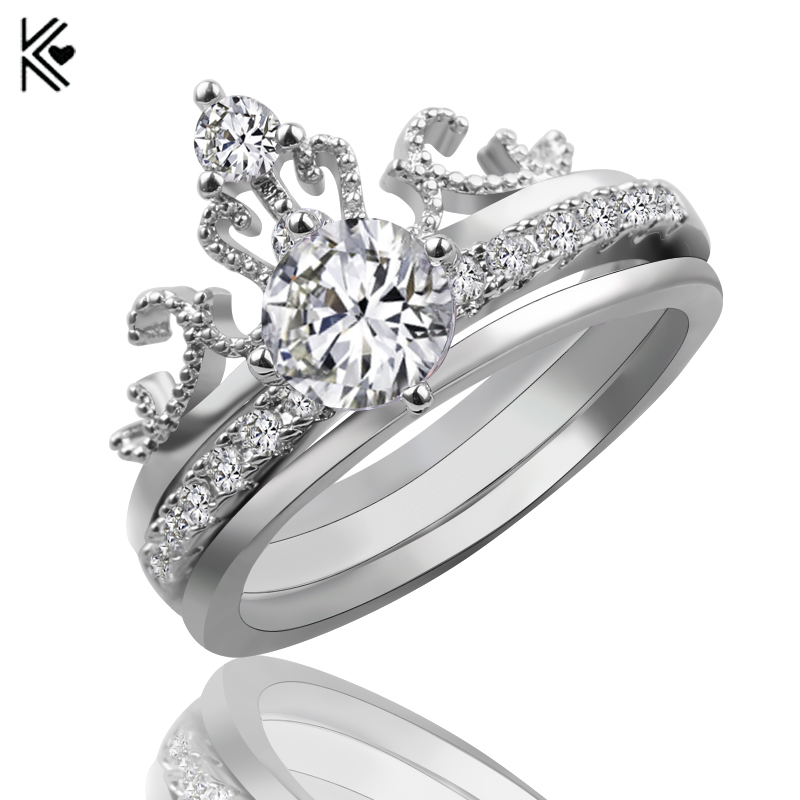 Silver Color Crown Set Ring Men Women Ring With White Zircon Vintage Copper Ring Wedding Engagement Rings Bridal Sets Trinkets