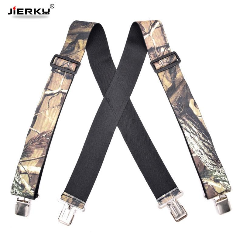 JIERKU Camouflage Suspenders Man's Braces 4Clips Suspensorio Outdoor Motorcycles Belt Trousers Strap Adjustable 5.0*120cm JK4C03