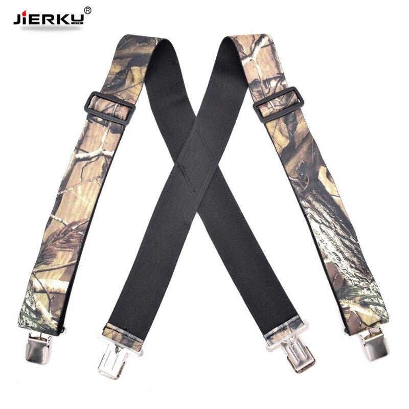 JIERKU Camouflage Suspenders Mans Braces 4Clips Suspensorio Outdoor Motorcycles Belt Trousers Strap Adjustable 5.0*120cm JK4C03