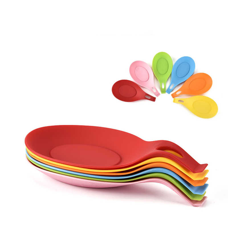 Isolasi Silikon Sendok Istirahat Tahan Panas Tatakan Minuman Coaster Tray Sendok Pad Makan Tikar Pot Pemegang Dapur Aksesoris