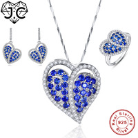 J.C Lady Sapphire Blue White Topaz Pendant & Ring & Earring Genuine Solid 925 Standard Sterling Silver Jewelry Set Heart Wedding