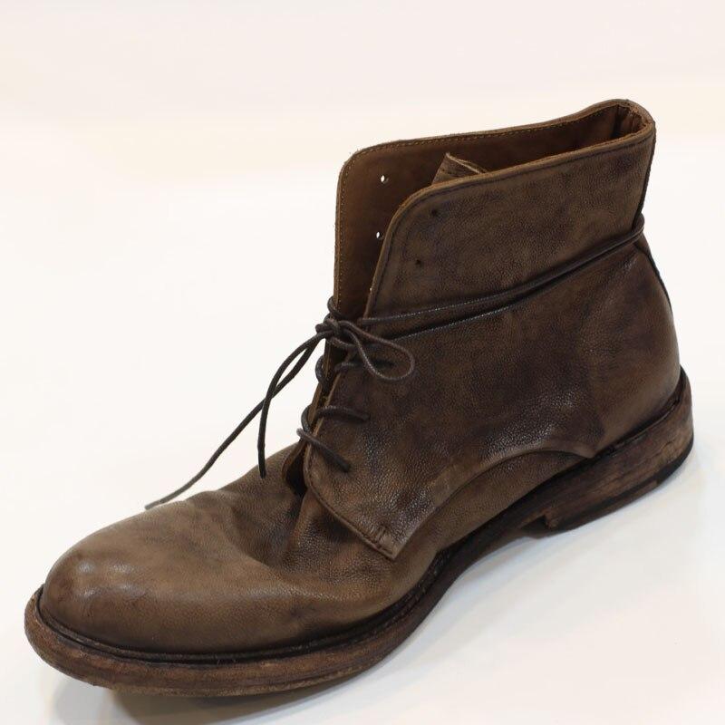 Di Fascia alta A Mano classic vintage Di Lusso Del Cuoio Genuino Suola Goodyear Stivali ITALIA In Pelle di Mucca Lace Up Moto desert boots