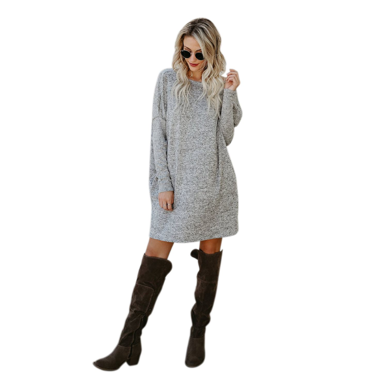 NEW-Women New Spring Autumn O Neck Elegant Casual Sweater Knitted Dress With Pocket Dresses Dresses new