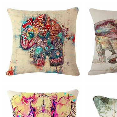 Factory Direct Oil Painting Elephant Pattern Cotton Linen