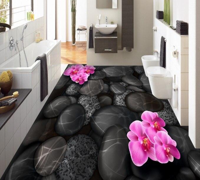 [Self-Adhesive] 3D Black Stone Petals 3 Non-slip Waterproof Photo Self-Adhesive Floor Mural Sticker WallPaper Mural Print Decal