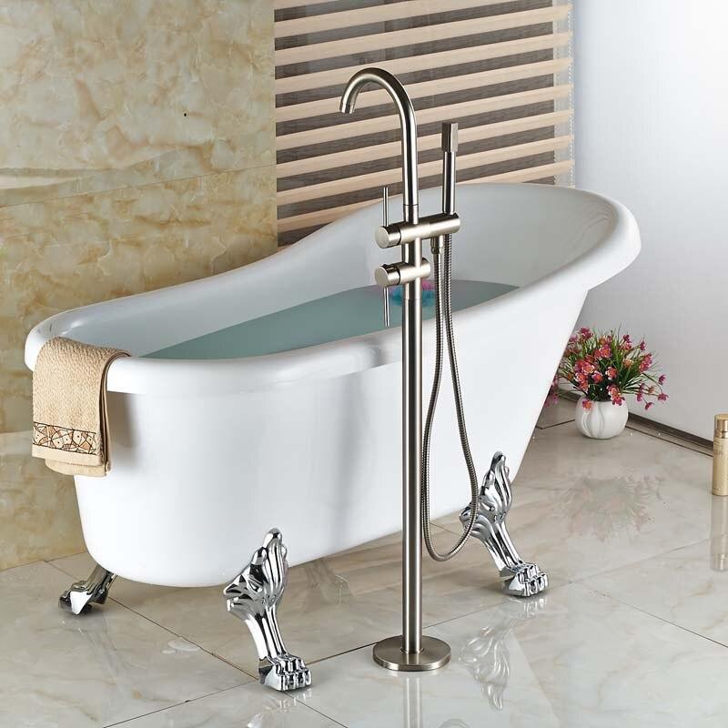 Brushed Nickel Free Standing Bathtub Faucet Bathroom Single Handle ...