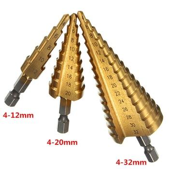 цена на 1pc HSS Step Cone Drill Bit Set Titanium Coated Woodworking Hole Milling Cutter 4-12/4-20/4-32mm