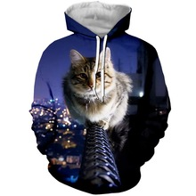 YX Girl Drop Shipping Womens 3d Clothes Stare Cat Hoodies Hooded Sweatshirt Women Cut Animal Hoodie Pullover Plus size