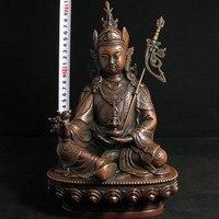 Доставка Старый тибетский Буддизм латунь падмасамбхава статуя Будды 12 h (31 см) медные инструменты Свадебные украшения латунь