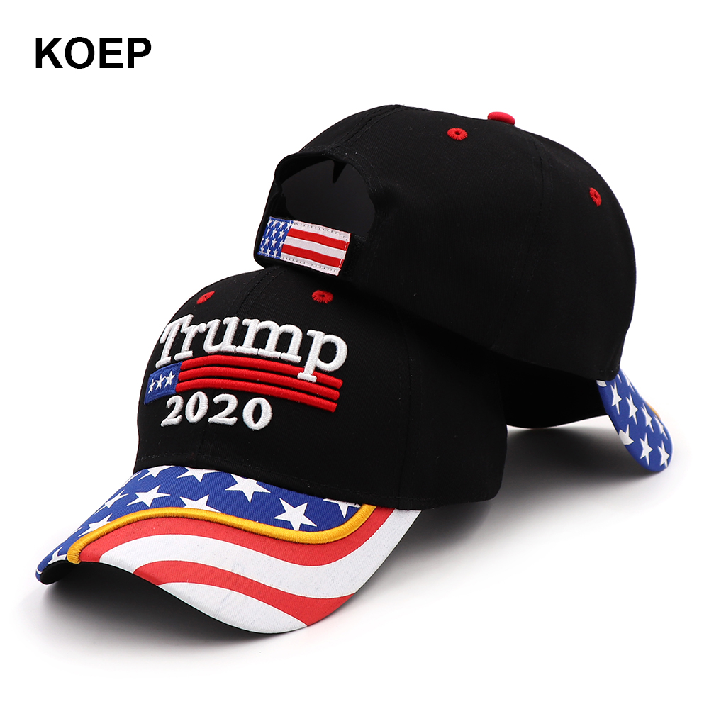 New Donald Trump 2020   Cap   USA Flag   Baseball     Caps   Keep America Great Again Snapback President Hat 3D Embroidery Black Wholesale