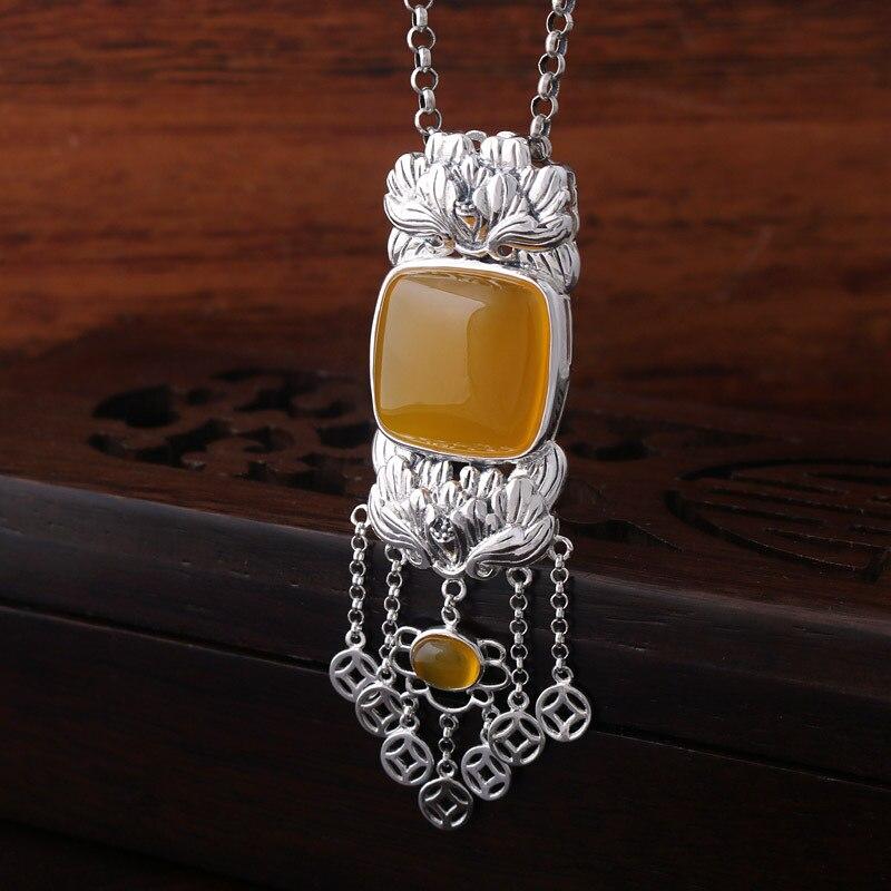 925 Sterling Silver Genuine Natural stone Pendant Silver Yellow tassel sweater pendant
