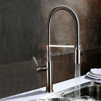 New Design Pull Out Kitchen Top Quality Brass Material Brushed Hot And Cold Mixer High Polished