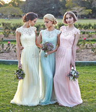 2016 Long Turquoise Lace Bridesmaid Dresses With Short Sleeve A Line Chiffon vestido de festa Wedding Party Dress Prom Gowns