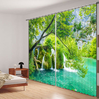 Wild Small Pond Landscape Scenery 3D Curtains for Window Treatments Modern Curtains for Beding Room High precision Shade