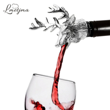 LMETJMA Stainless Steel Deer Stag Head Wine Pourer Unique Bottle Stoppers Aerators Bar Tools KC0818-1
