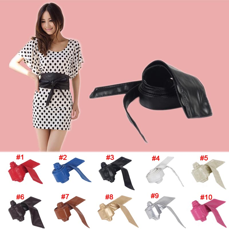 Fashion Women belt Soft Leather Wide Self Tie Wrap Around Waist Band Dress Belt FS99