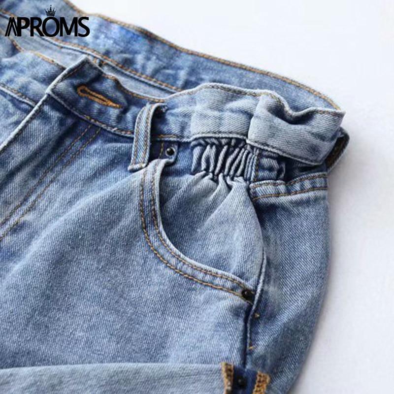 Aproms Casual Blue Denim Shorts Women Sexy High Waist Buttons Pockets Slim Fit Shorts 2019 Summer Beach Streetwear Jeans Shorts 5