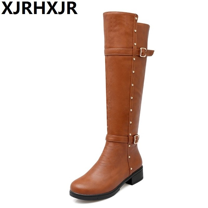 XJRHXJR Autumn Warm Shoes Thigh High Women's Winter Boots Pu Leather Med Heels Knee High Boots Women Plus Size Shoes Woman 34-43 2018 winter thigh high boots women faux suede leather high heels over the knee botas mujer plus size shoes woman 34 43