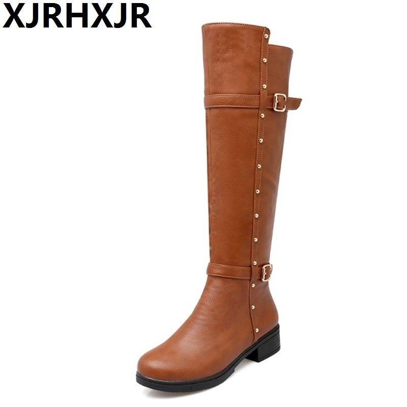 XJRHXJR Autumn Warm Shoes Thigh High Women's Winter Boots Pu Leather Med Heels Knee High Boots Women Plus Size Shoes Woman 34-43 xjrhxjr 2018 autumn winter new long