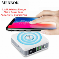 15W Qi Wireless Charger For LG V30s ThinQ/G2/G3/G6+/V30 6700mAh PowerBank Portable Type C USB Travel Charger For Xiaomi Mix 2s/3