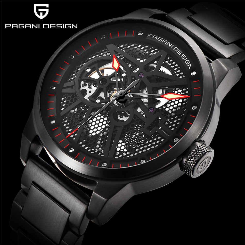 PAGANI DESIGN Top Brand Luxury Men Full Steel Mechanical Watches Sport skeleton Automatic Self-Wind Men's Watch montre homme women favorite extravagant gold plated full steel wristwatch skeleton automatic mechanical self wind watch waterproof nw518