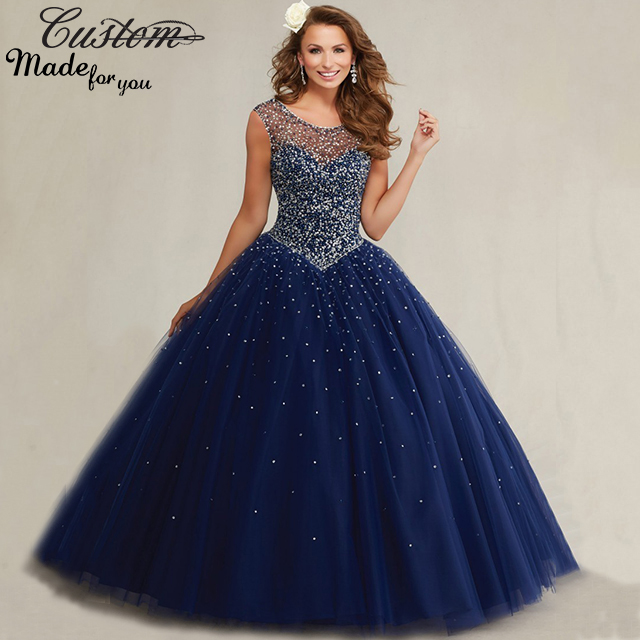 Plus Size Masquerade Ball Gowns Puffy Sweet 16 Navy Blue Quinceanera