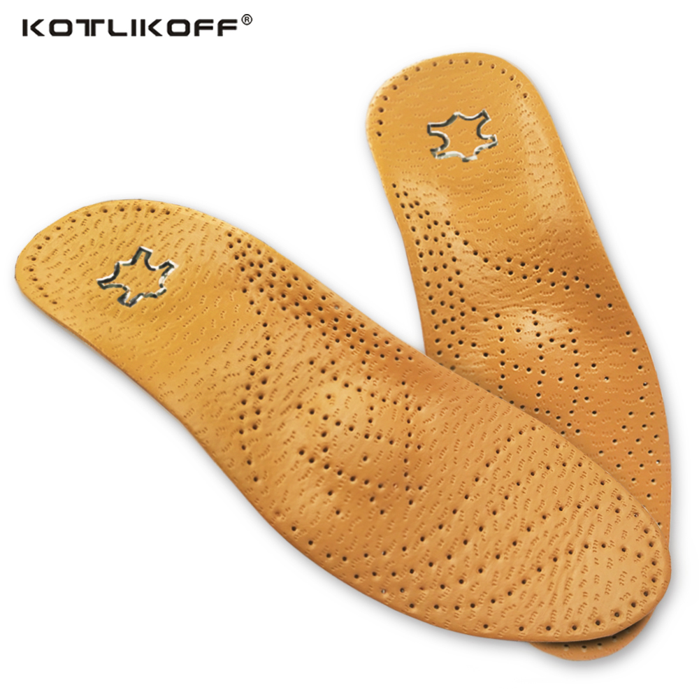 KOTLIKOFF High quality Leather orthotics Insole for Flat Foot Arch Support 25mm orthopedic Silicone Insoles for