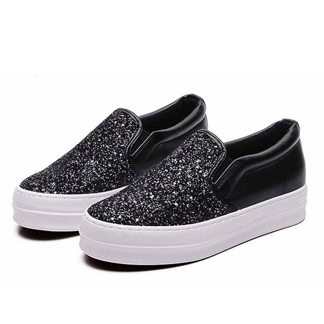 Hkl floral zapatos de lona de la venta caliente 2017 de moda apliques slipony mujeres aumento de la altura calzado chica slipon comodidad femenina de las mujeres
