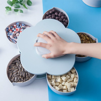 Fashion Flower Multi Function Rotating Storage Box Creative Separate Sealed Snacks Box Dried Fruit Box Home Storage Organization