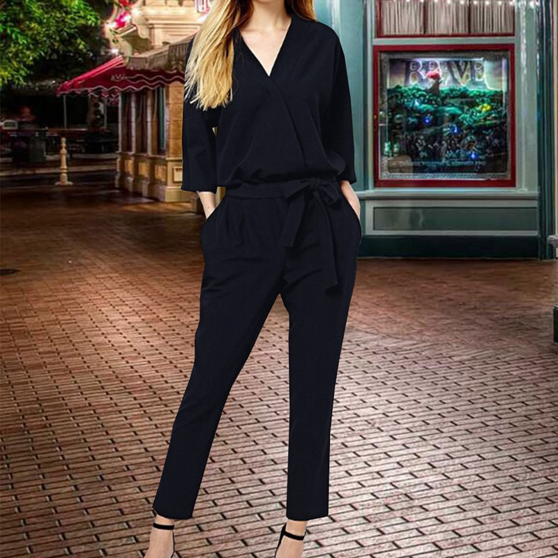 e9aff561563 autumn V Neck Long Sleeves elegant Jumpsuits Womens 2018 Europe Street  Classical Formal Full Length Loose Ladies Work dungarees