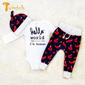 TWINSBELLA Baby Clothing Set Winter Newborn Girl Long Sleeve Cartoon Fox Romper+Pant+Hat Autumn Baby Boy Warm Romper Set
