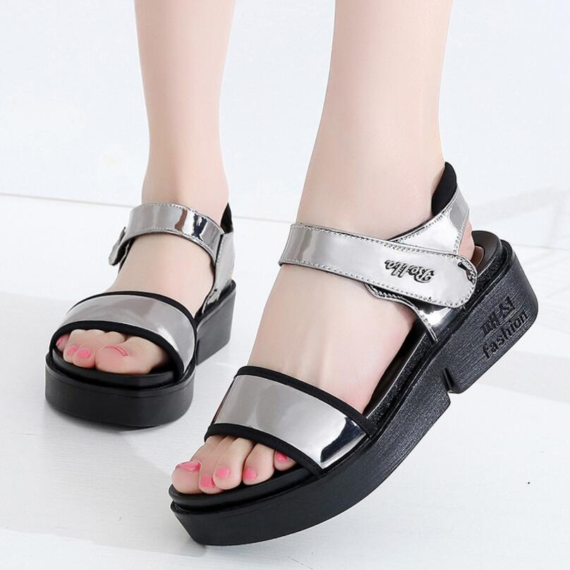 D&Henlu Summer Shoes Woman Sandals Platform Leather Sandals Women Sandal Flat Casual Patent Leather Med Heel Platform zapatos choudory bohemia women genuine leather summer sandals casual platform wedge shoes woman fringed gladiator sandal creepers wedges