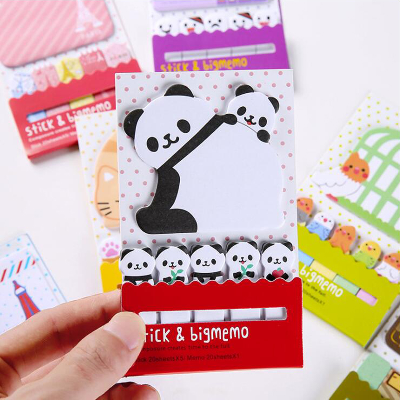 Colored Panda Memo Pad Cute Sticky Notes Post It Self-Adhesive Notes Office Stationery and School Supplies 1PCS/20 Pages