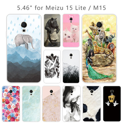 "Soft TPU For Meizu 15 Lite M15 Transparent Silicone Animal Back Phone Cover for Meizu M15 Phone Cases 5.46"" for Meiblue 15 Lite Pakistan"