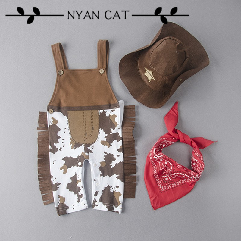 Nyan Cat Baby Clothes Boy Costume Infant Toddler Cowboy Set 3Pcs Hat+Scarf+Baby Romper Halloween Purim Event Birthday Outfits