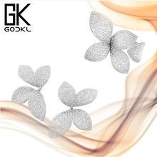 GODKI Famous Trendy Fashion Luxury AAA Cubic Zirconia Engagement Ring For Women Wedding Brides Glitter DUBAI Silver Jewelry Sets(China)