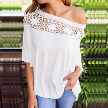Summer Women Tops Cold Shoulder Blouses Skew Collar Shirts Loose Shirt Lace Patchwork Tops Sexy Hollow Out Blouse WS490X pink hollow design cold shoulder long sleeves blouses