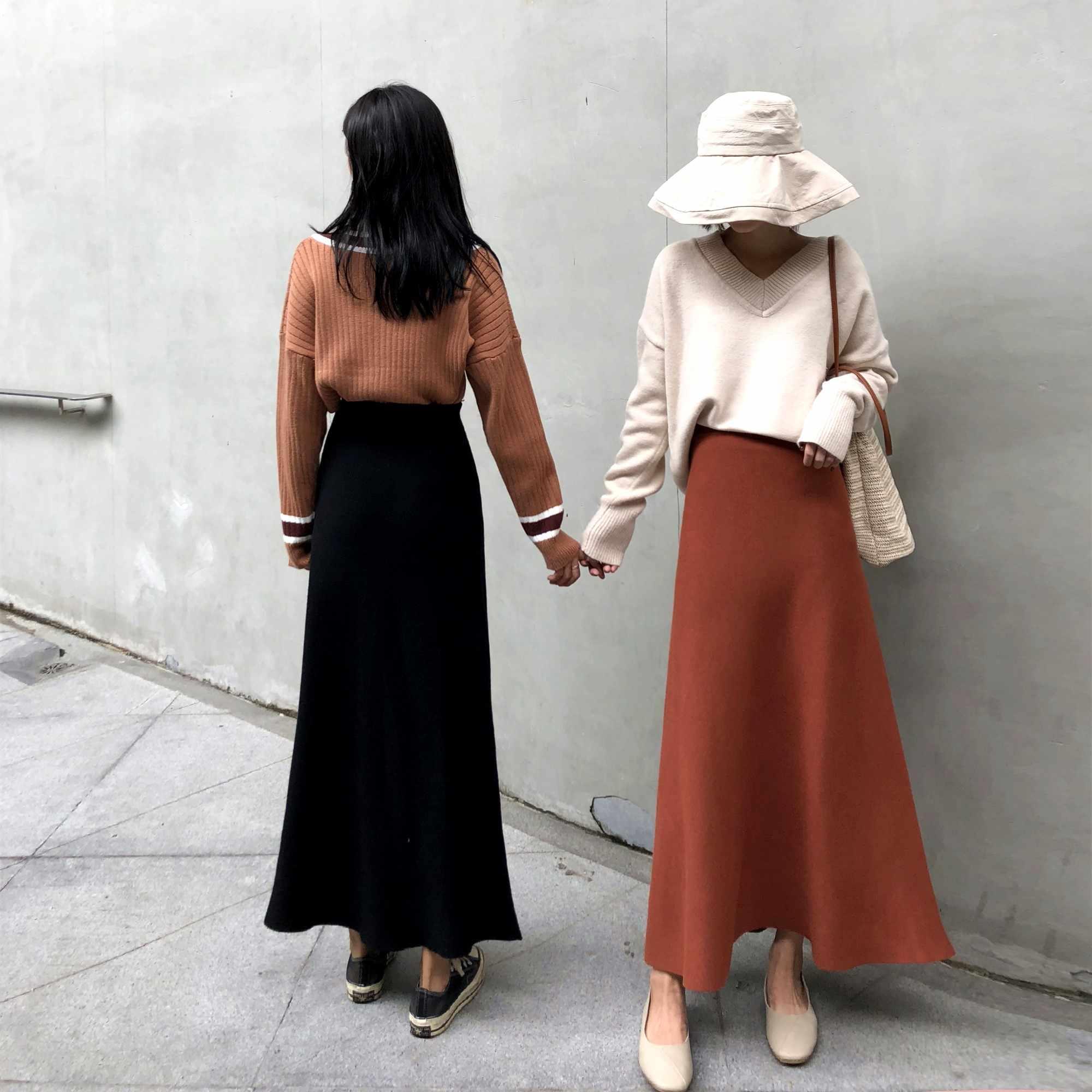 92aeac34011 ... Дуэйн Оригинальные юбки женские трикотажные длинные плиссированные юбки  весна 2019 корейская однотонная Высокая талия женская элегантная ...