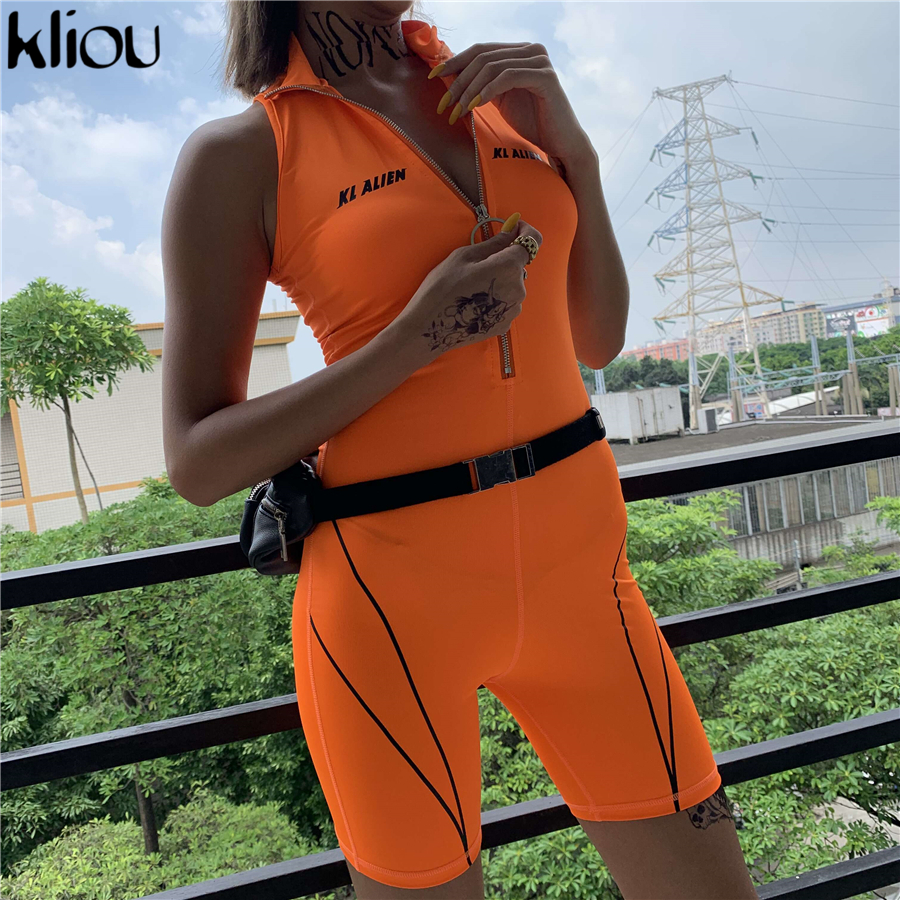 Kliou Fitness Playsuits Women Active Wear Sleeveless Zipper Turtleneck Letter Print Patchwork Bodysuit Sportswear Slim Outfits