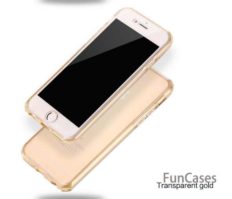 لينة هاتف محمول حقيبة لهاتف أي فون 6 6 S 7 8 زائد X 10 XR XS ماكس 5 S 5 s 5SE السيليكون واضح 360 كامل الجسم اللمس شاشة رقيقة الغطاء الخلفي