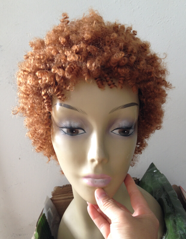 So Fashion Elegant Short 6 Curly Hair Wigs Brown Color Afro Kinky