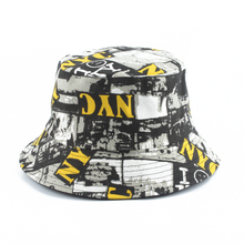 NYC Print Reversible Bucket Hats Mens Panama Cap Women Two Sided Wear Fisherman Hat Summer Cotton Sun Caps