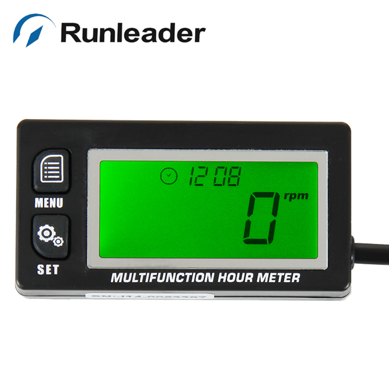 Surface waterproof large GREEN LCD Battery replaceable volt meter VOLTMETER Tachometer Hour Meter For jet ski lawn mower marine