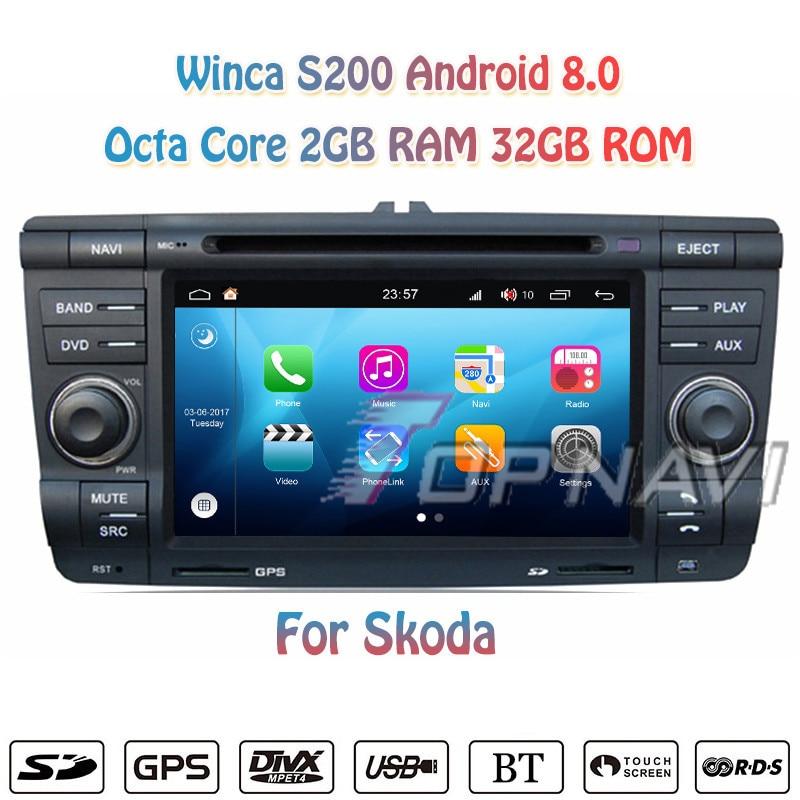 Topnavi 7'' Quad Core S200 Android 8.0 Car DVD Multimedia Player for Skoda Audio Radio Stereo 2 DIN GPS Navigation Head Unit