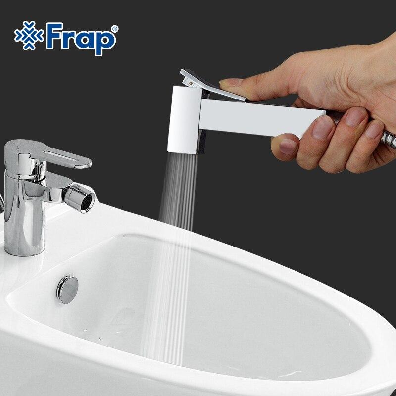 Image 2 - Frap 1 Set Solid Brass Single Cold Water Corner Valve Bidet faucets Function square Hand Shower Head Tap Crane 90 Degree SwitchBidets   -