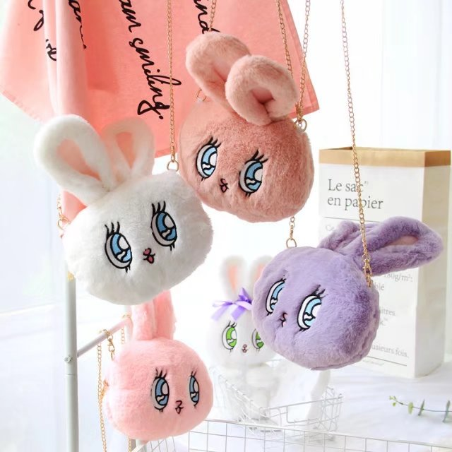 Candice guo! cute plush toy WEGO big eyes rabbit head mini chain crossbody bag coin bag creative birthday Christmas gift 1pc
