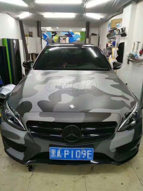 Car Styling Grey Camo Vinyl Wrapping Gray Camouflage Car