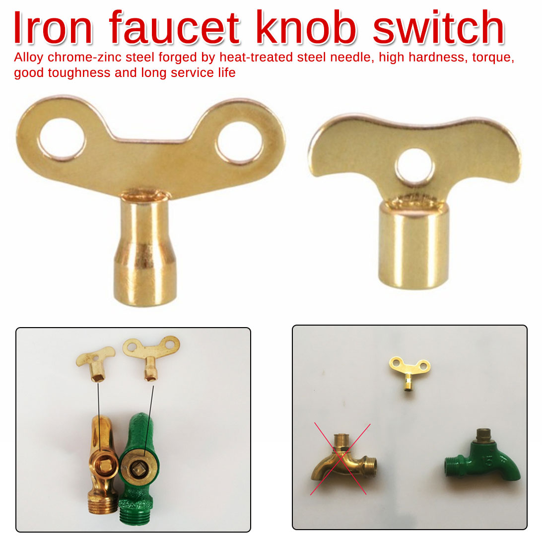 Knob Type Key Bleed Hole Plumbing Faucet Special Lock Square Socket Brass Radiator Hardware Accessories Non-rust