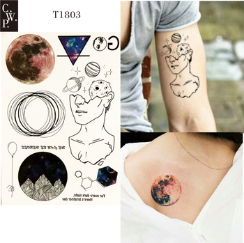T1803 1 Piece Explore Universe Temporary Tattoo with Mars,Stars, Outer Space and Starry Sky Pattern body paint Tattoos Туалет
