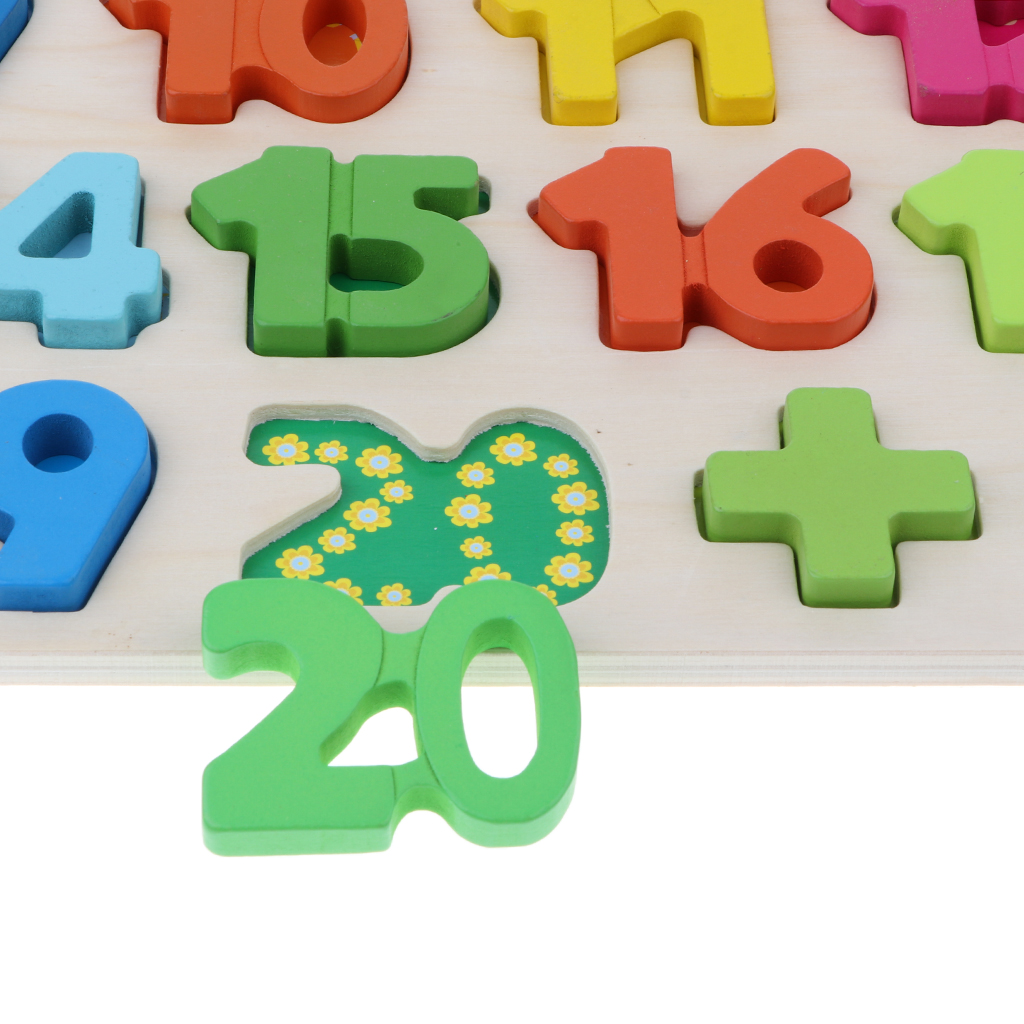 Wooden Number Block Board for Math Counting Learning Kids Mathematics Toy with 1 ~ 20 Number and 3 Math Signs Developmental Game